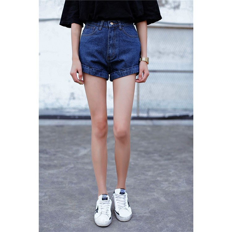 Women Girls Light Blue High Waist Denim Short Jeans Ladies Stretch ...