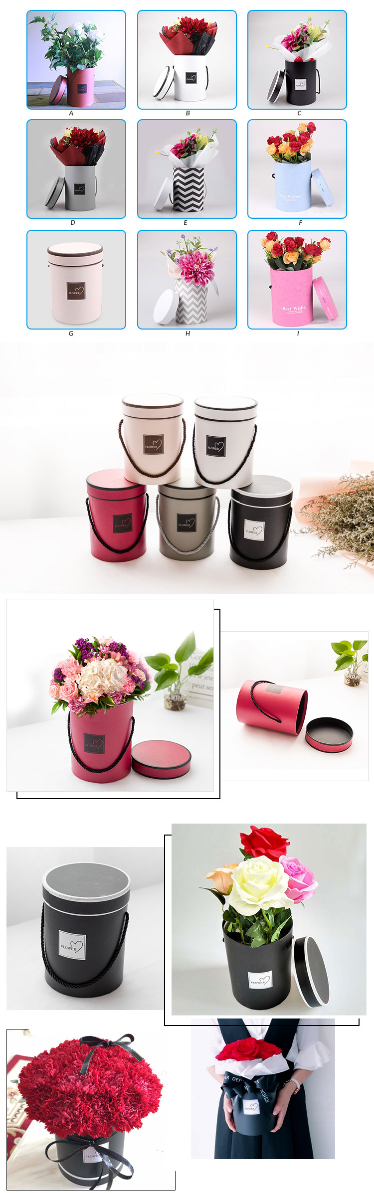 china suppliers wholesale nice quality 9 different colors round packaging flower gift box