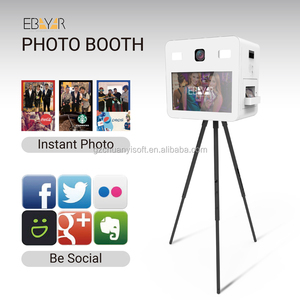 floor standing selfie pod station with flash or led lights for the photo booth case for instant printing