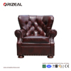 Orizeal Churchill Roll Arm Leather Armchair, Dark Brown Leather Armchair for Bedroom Design (OZ-LS-2020)