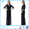 Half sleeve black lace floor length islamic women's muslim wedding dress