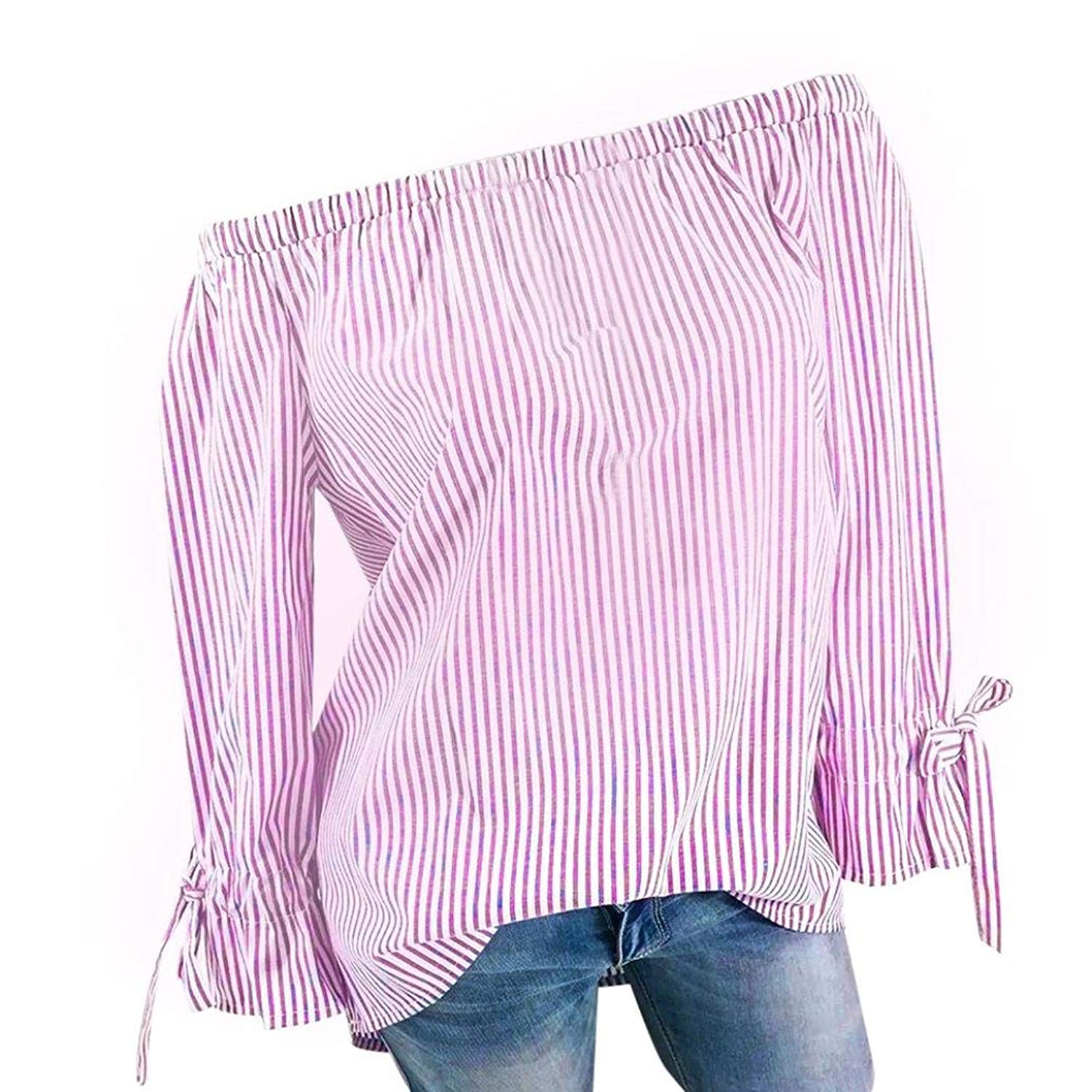 e1781aefc0b7 Get Quotations · Women Sexy Long Sleeve Tops Plus Size Casual Off Shoulder  Blouse Striped Bowknots Loose Fits Shirts