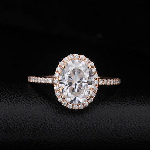 Charming 18k Rose Gold Oval Shape Moissanite Diamond Jewelry Engagement Wedding Ring фото