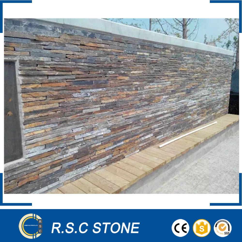 rustic cultured stone slate wall panel