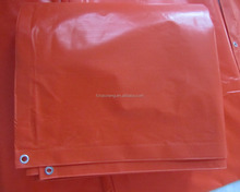 300gsm UV Treatment and Fire retardant PVC tarpaulin sheet with metal grommet