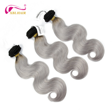 High quality unprocessed virgin remy ombre human hair 1b/grey color body wave