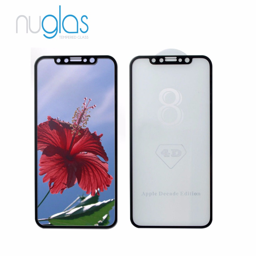 Nuglas newest Curved edge Anti burst wholesale premium IP X tempered glass for iphone X 3D screen protector