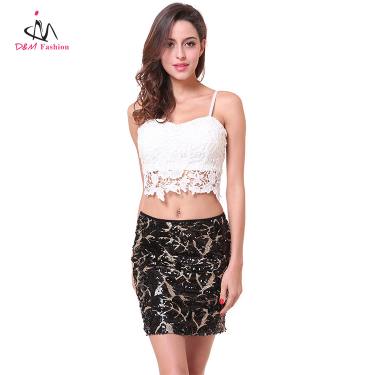 2 Piece Set Women Clothing Wholesale Ladies Plain Blank White Lace Cotton Crop Top + Custom Bulk Gold Sequin Slim Short Skirt