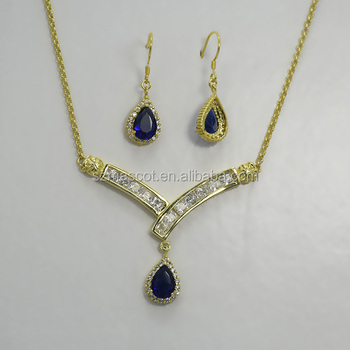 Royal blue bridal costume jewellery from dubai for sale brass white gold plated ewelry set & Royal Blue Bridal Costume Jewellery From Dubai For Sale Brass White ...