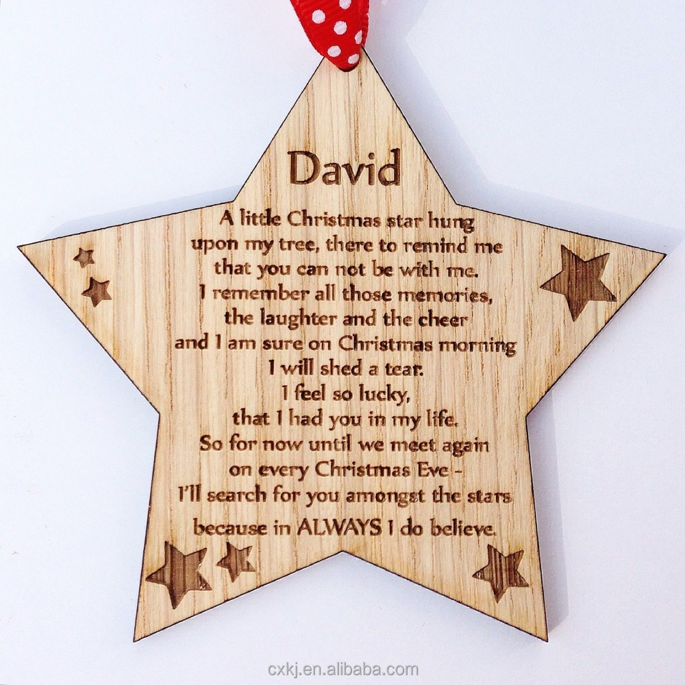 wooden Five-pointed star ornaments Christmas Tree Decoration Engraved Gift Customized in memory