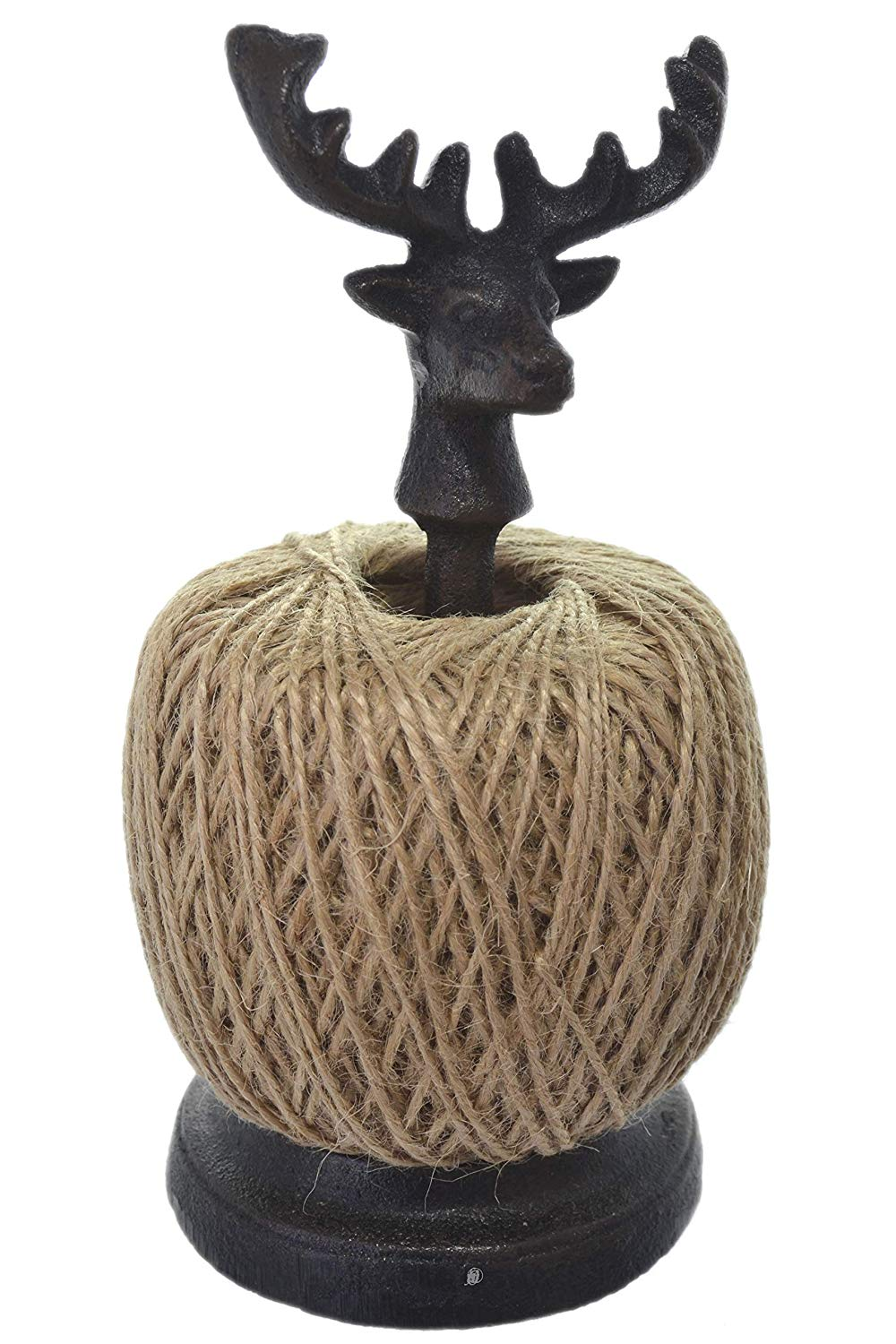 American Chateau Dark Brown Cast Iron Deer Head Tabletop Twine Holder Dispenser (Spool Included)