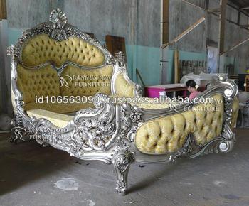 Elegant Furniture Wood Royal Bed With Silver Leaf BJ RF56