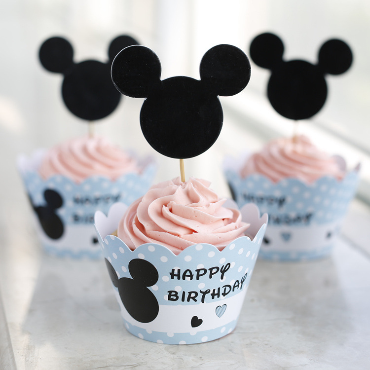 So hot!Cute blue Mickey Printed paper cupcake wrappers&toppers picks decoration for kids baby birthday wedding party supplies