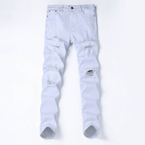 New Style Man 2018 Men Fashion White Pants Ripped Denim Jeans with High Quality