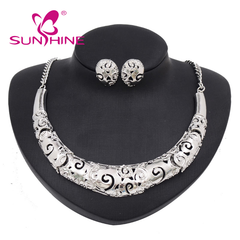 Statement vintage Women Jewelry Exaggerated Big Choker Necklace Chunky Set