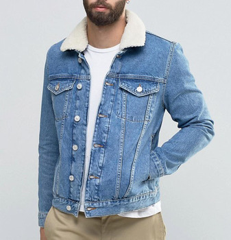 e46455a4488 mens blue denim light wash fur collar slim fit winter customized fashion  jacket