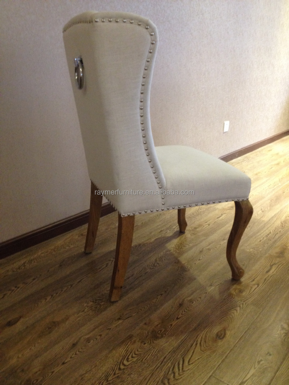 Norway Popular Classic Pull Ring Back White Linen Chair