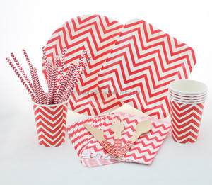 Paper Chevron Paper Cup Plate Straw Napkin Party Christmas Tableware Set