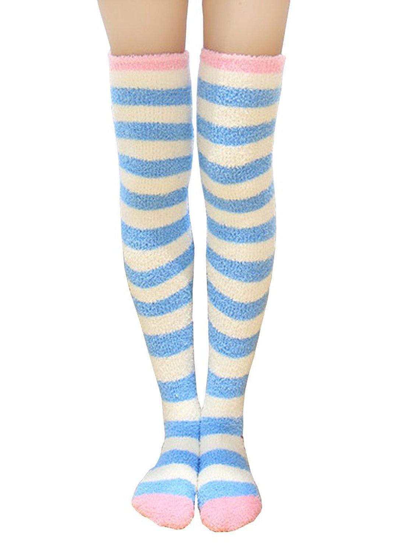 8778f12a3b2 Get Quotations · Knee High Socks Fuzzy Socks Women Winter Leg Warmers Print  Long Stockings