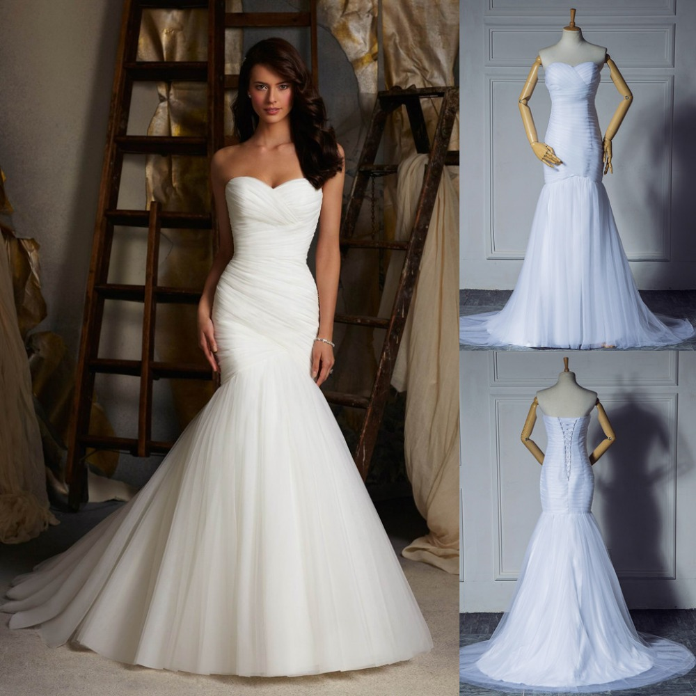 2015 Designer Wedding Gowns: 2015 New Design Ruched Strapless Mermaid Tulle Wedding