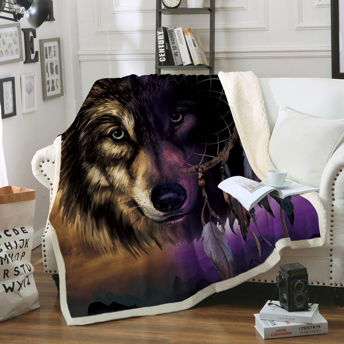 "Sleepwish Wolf Dreamcatcher Fleece Throw Blanket Native American Super Plush Blanket Brown Purple Wolf Blanket for Bed Couch Travelling (50"" x 60"")"