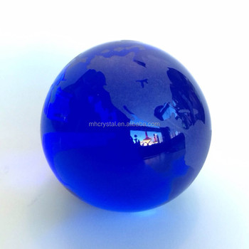 blue glass etched globe paperweight mh q0129 buy glass earth globe