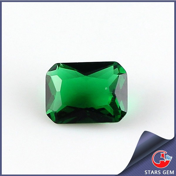 Wuzhou rectangle princess cut emerald Zambian cz gemstone