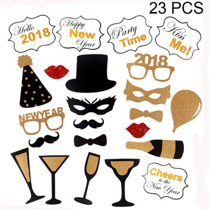 fengrise 21pcs happy new year 2018 photo booth props