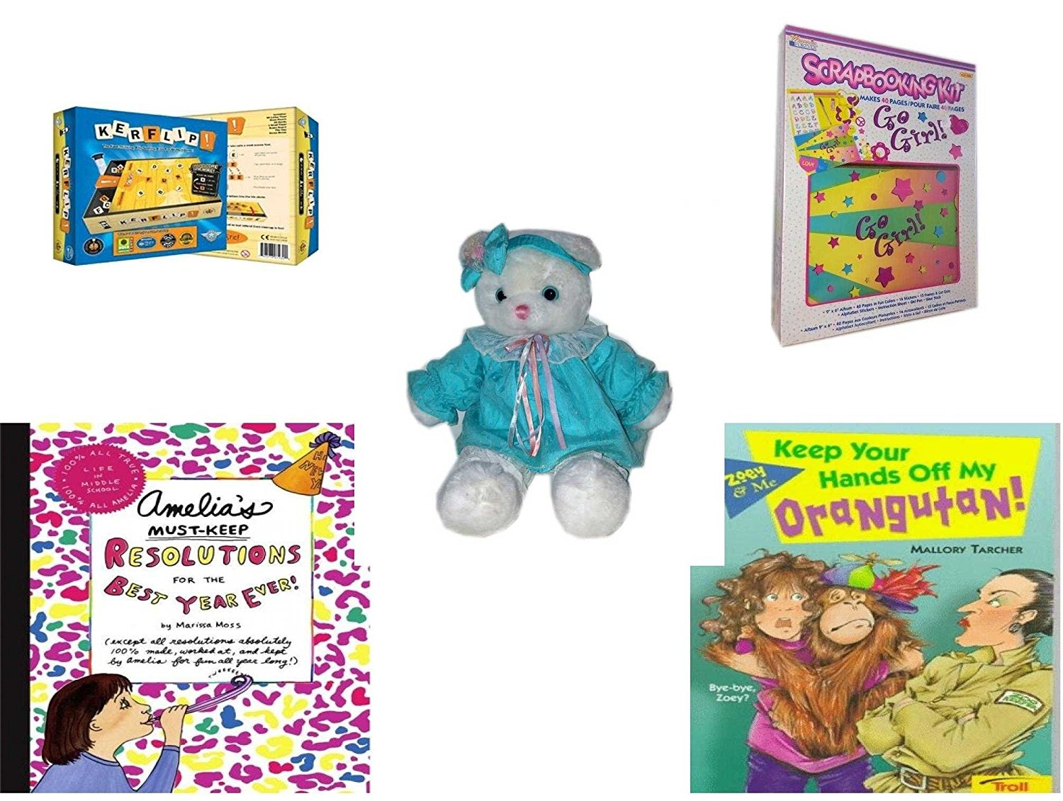 """Girl's Gift Bundle - Ages 6-12 [5 Piece] - Kerflip. Game - Memories Forever Go Girl. Scrapbooking Kit - TB Trading Baby Girl White Teddy Bear Plush 16"""" - Amelia's Must-Keep Resolutions for the Best"""