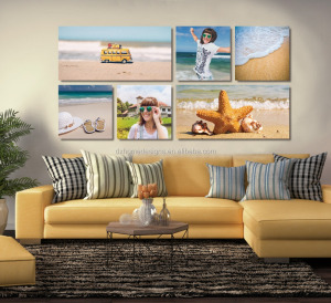 6 panel printed canvas art fabric wall art - Beach Sea View