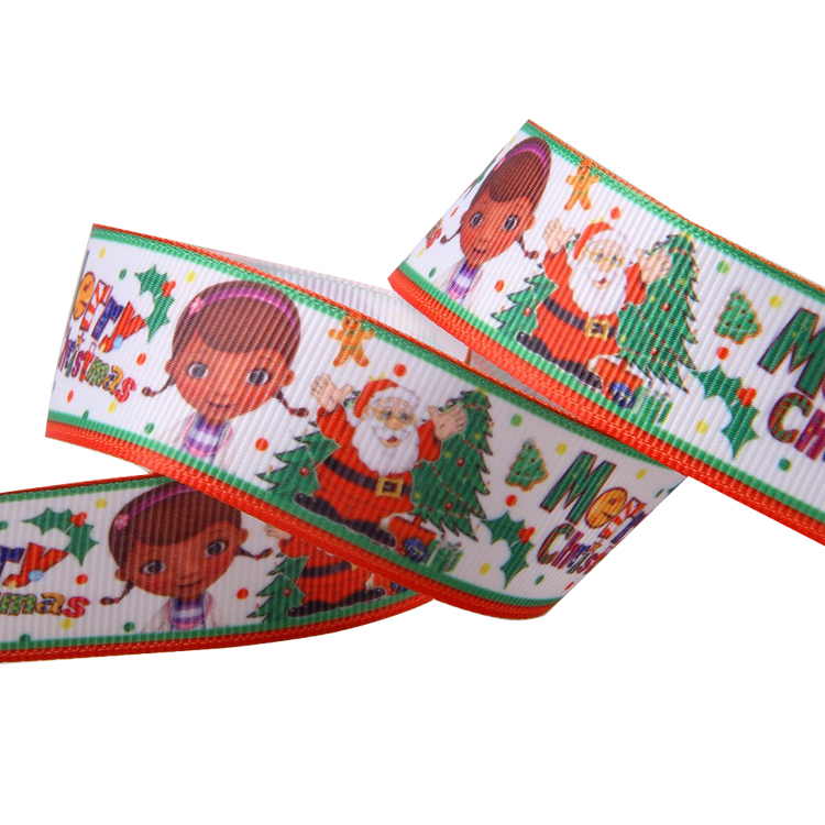Personalized 1 inch colorful thermal transfer printed grosgrain ribbon for Christmas decoration