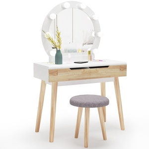 Free shipping USA Tribesigns white dresser with mirror and lights Wood Makeup Vanity Dressing Table set