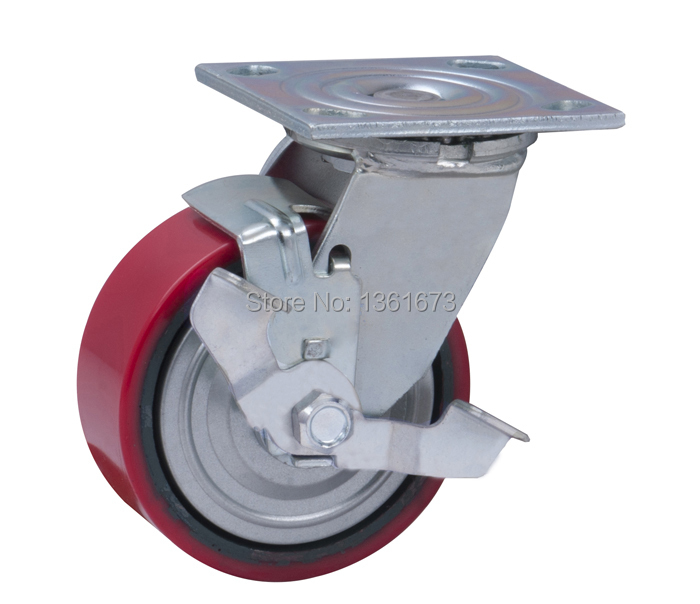Heavy duty 5 inch Plate Side Brake TPU caster