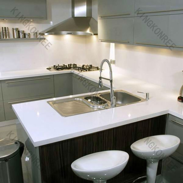 Piedra artificial cocina prefabricada esquina mesa de - Mesa de trabajo cocina ...