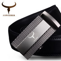 COWATHER 100% cow genuine leather belts for men 2019 top quality automatic alloy clasp male strap casual design original brand