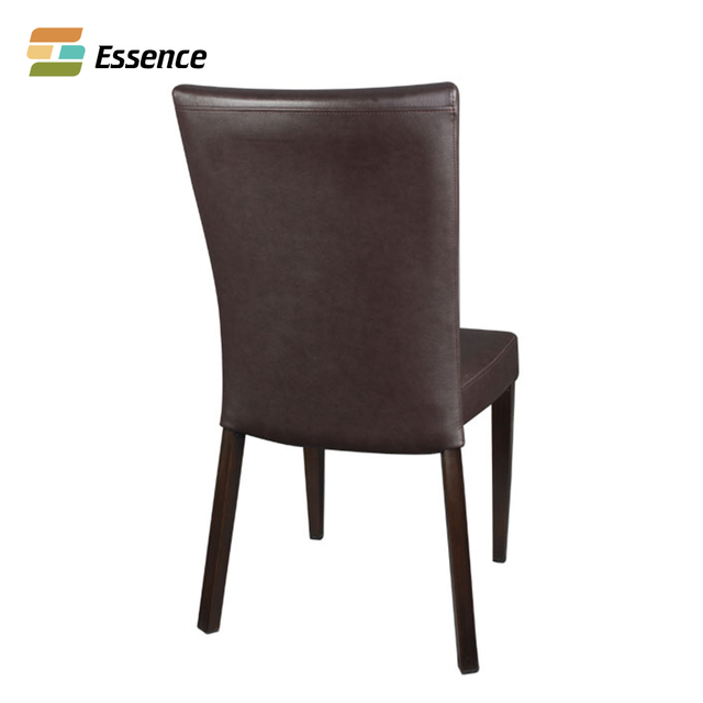 Restaurant Upholstered Fuax Leather Solid Beech Wood Frame Chair