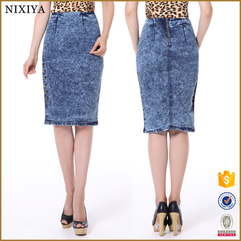 Plus Size Wholesale Long Denim Skirts Women