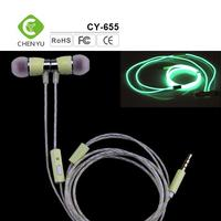 2016 factory made 100% good quality wirde fluorescent lighting earphone