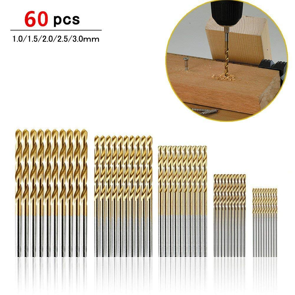 60pcs HSS Drill Bit Set, Titanium Coated High Speed Steel Mini Macro Drill Bits Eholder Jobbers Length 1/1.5/2/2.5/3mm for Steel Wood Plastic Aluminum Alloy, Twist Drill Bits Set