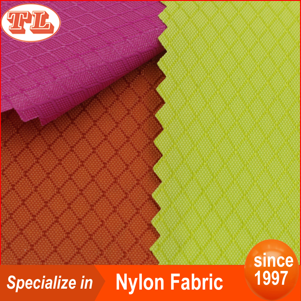 Wholesale 210D nylon diamond ripstop <strong>fabric</strong> with PU backing