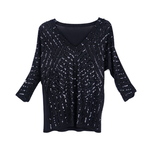 Ladies V-neck sweater with sequins knitted lose style women's pullovers