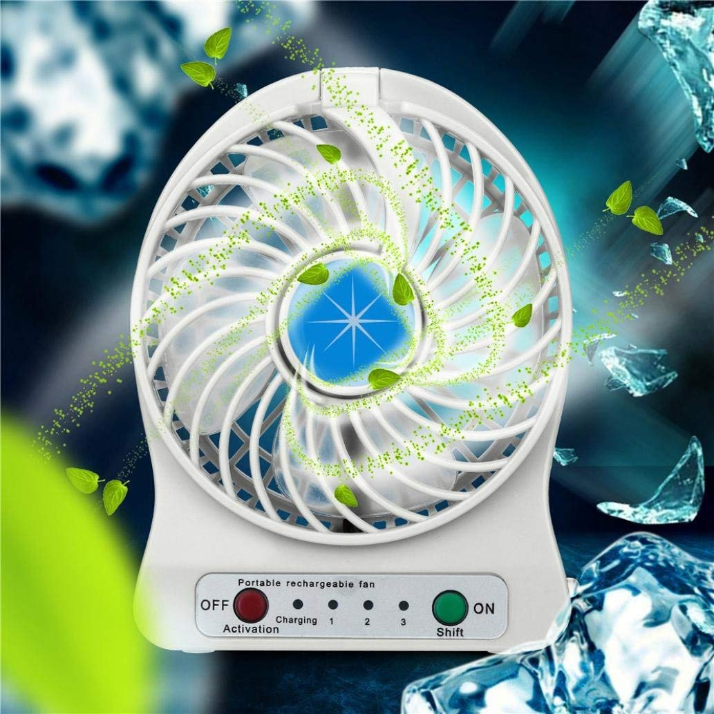 """Makaor Hand Held USB Fan,Portable USB Fan,Portable Rechargeable LED Light Fan Air Cooler Mini Desk Fan Air Cooler For Home Office Outdoor (White, Dimensions: 4.2"""" x 5.4"""" x 1.8"""")"""