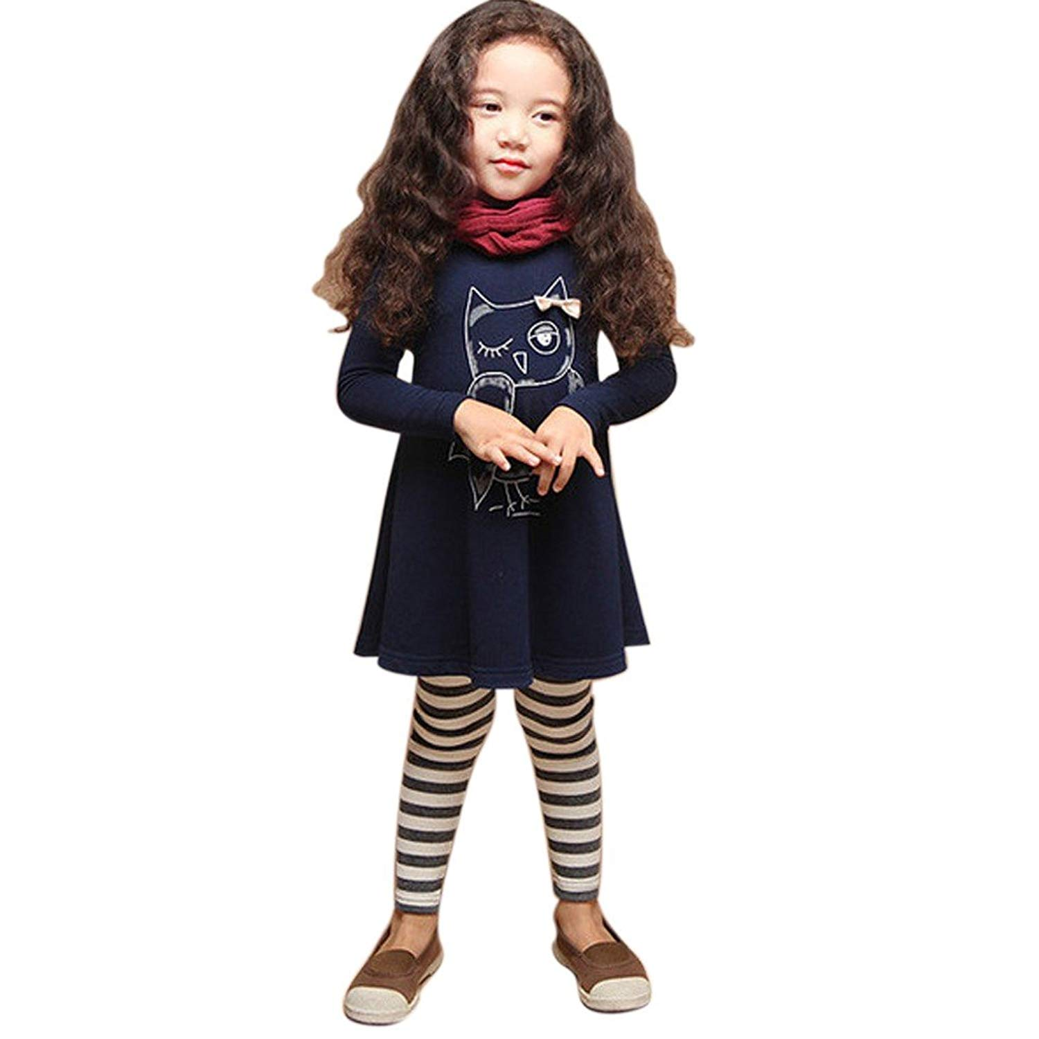 9f39fa19b2fcd Get Quotations · Zhengpin Baby Girls Owl Print T-Shirt Dress Autumn Clothes  Long Sleeve Party Tops