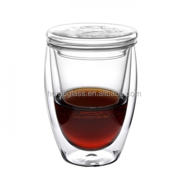 Wholesale new product Double-layer heat resistant double wall glass tea cup with lid and infuser