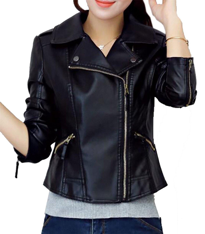 KLJR-Women Faux Leather Jacket Slim Fit Moto Biker Short Coat