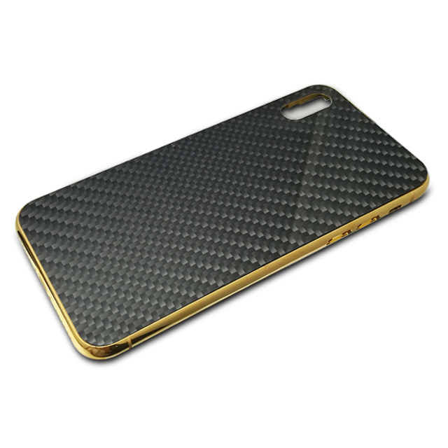 Custom-made Luxury Gold Frame Carbon Fiber Phone Case For IPhoneX