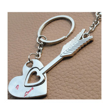 New design Couple Keychain Piercing Heart Key Ring Arrow Bow Lovers Love Key Chain