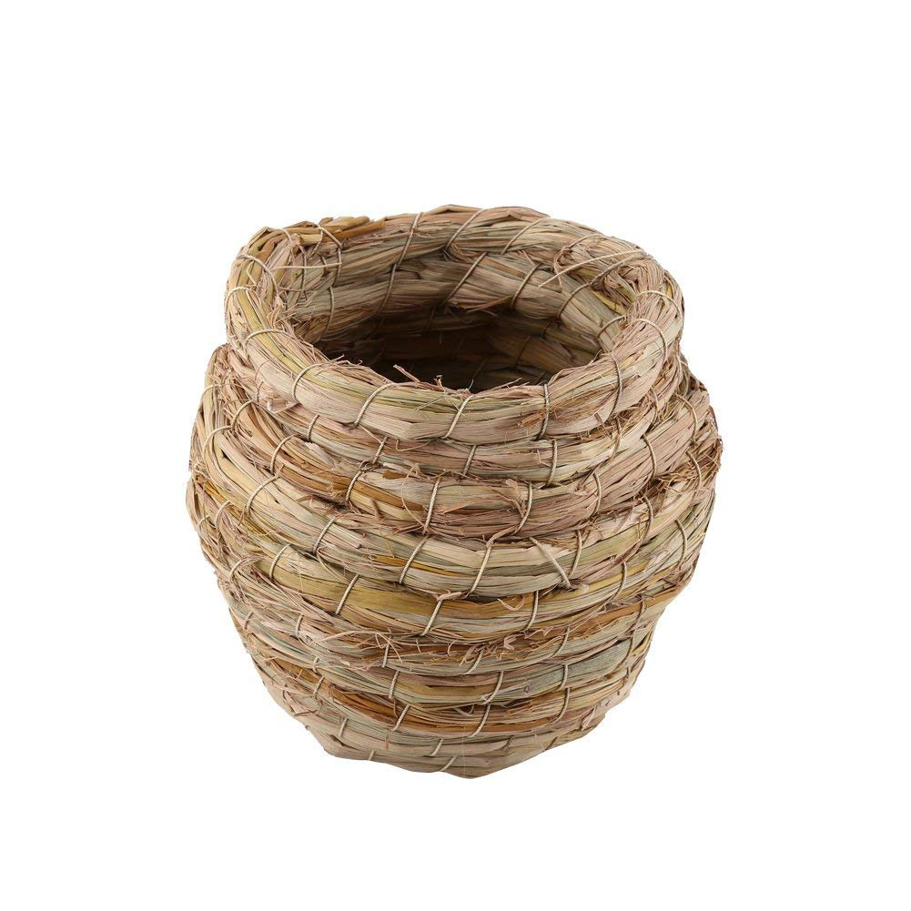 Handmade Bird Nest, Handwoven Straw Bird Nest Hamster Cage Parrot Canary Finch Budgie Hatching Breeding Cave House - Cozy resting place for birds - Bird hideaway from predators - 100% Natural Fiber