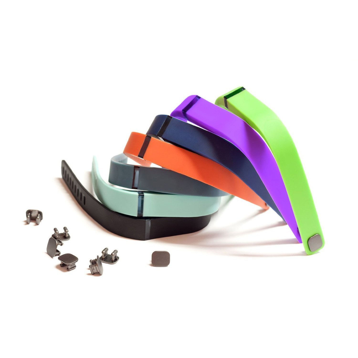 Set L 7 Pcs: Black Navy (Blue) Slate (Blue/Grey) Teal (Blue/Green) Red (Tangerine) Lime (Green) Purple (Purple/Pink) Replacement Band + Clasps For Fitbit Flex /No Tracker (7color(Large))