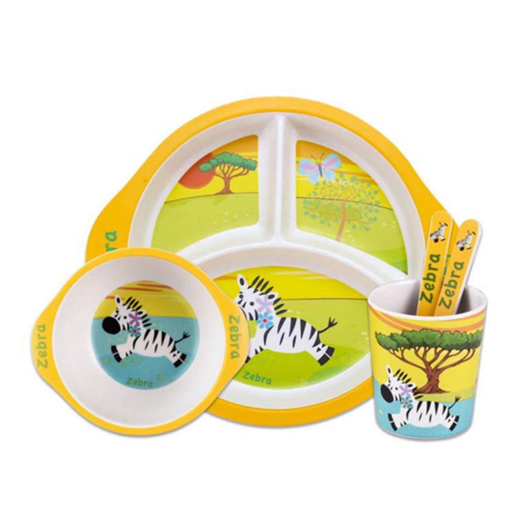 Compartment Eco-friendly Bamboo Fiber Tableware Set 5Pieces For Children